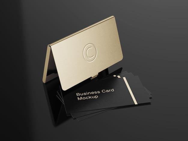 Design de maquete de suporte de cartão de visita de luxo