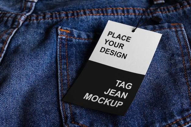 Design de maquete de tag jeans Psd Premium