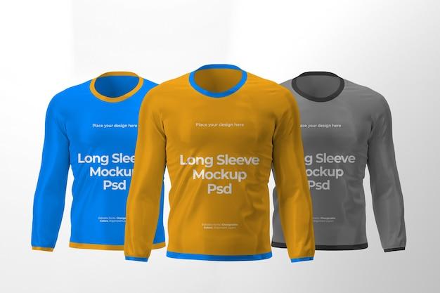 Design de maquete de três camisetas de manga comprida isoladas