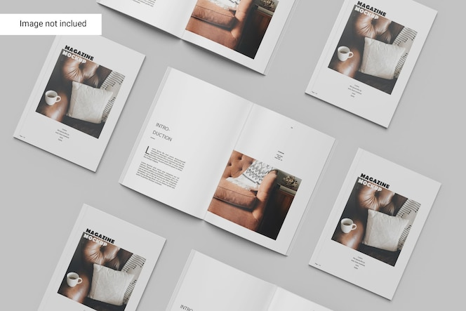 Design de maquete de várias revistas
