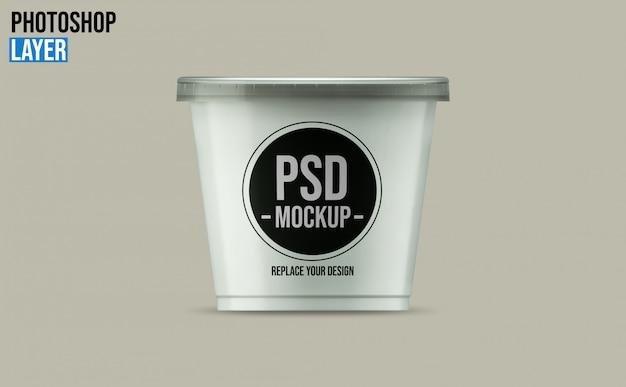 Design de maquete de xícara de iogurte