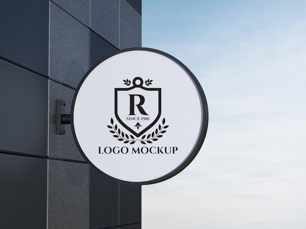 Design de maquete do logotipo da tabuleta metálica