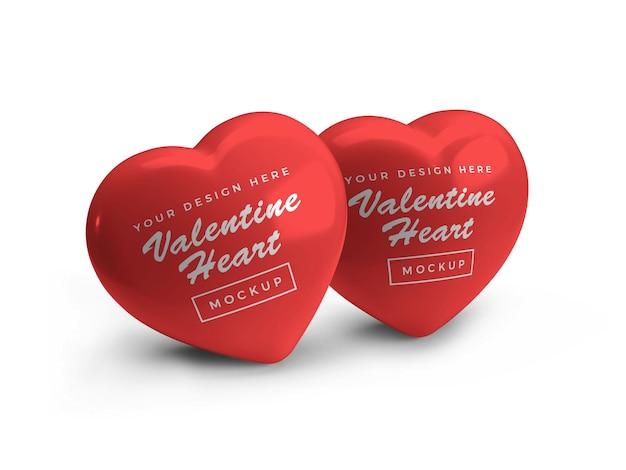 Design de maquete do símbolo do coração de amor dos namorados