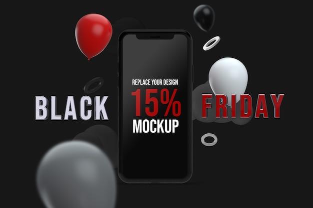 Design de maquete do smartphone black friday
