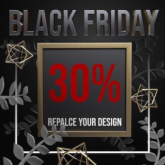 Design de maquete em tamanho black friday socail media square