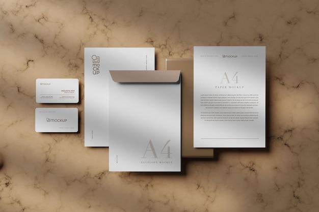 Design de maquete estacionário branco limpo