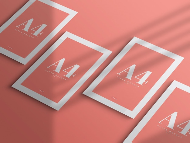 Design de maquete mínimo a4 flyer