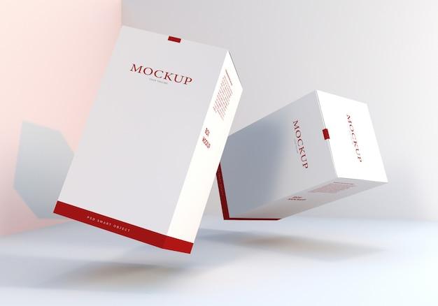 Design de maquetes de caixa de embalagem flutuante