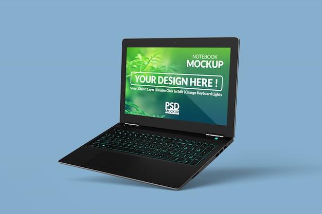 Design de maquetes de laptop realista em vista flutuante