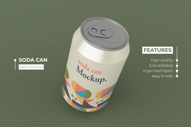 Design de maquetes de lata de bebida metálica de qualidade premium
