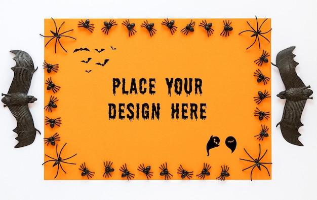 Design de mock-up assustador com morcegos