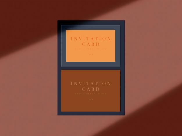 Design de mock-up de cartão de convite de casamento para cartão de apresentação ou design de convite com sobreposição de sombra