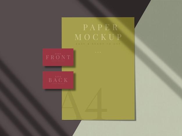 Design de mock-up de papelaria moderno para branding, identidade corporativa, apresentações de designers gráficos com sobreposição de sombra