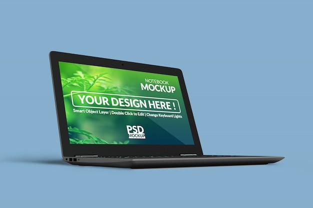 Design de mock ups de laptop de negócios realista personalizável na posição girada à esquerda na vista direita