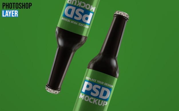 Design de mockup de garrafa de cerveja de vidro âmbar