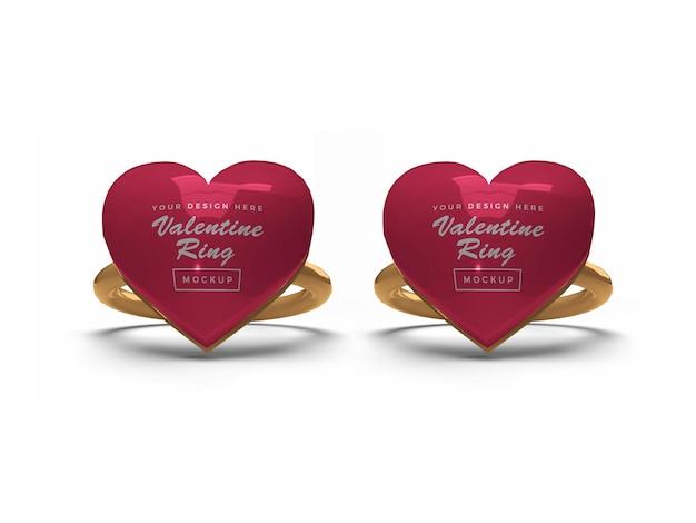 Design de modelo de anel de coração de dia dos namorados