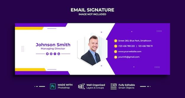 Design de modelo de assinatura de e-mail comercial ou rodapé de e-mail e capa de mídia social pessoal
