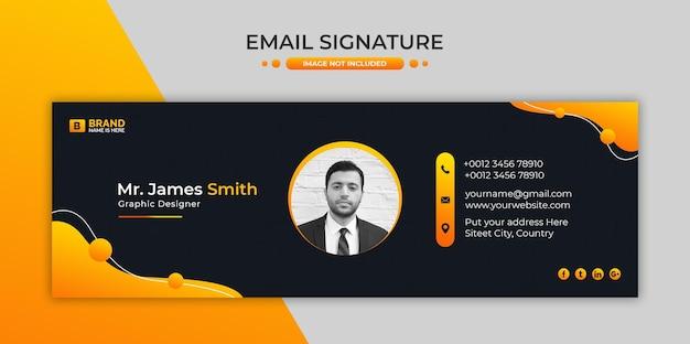 Design de modelo de assinatura de e-mail corporativo ou rodapé de e-mail e capa de mídia social pessoal