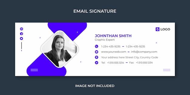 Design de modelo de assinatura de e-mail ou rodapé de e-mail e modelo de capa de mídia social pessoal