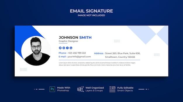 Design de modelo de assinatura de email ou rodapé de email e capa de mídia social pessoal, rede social