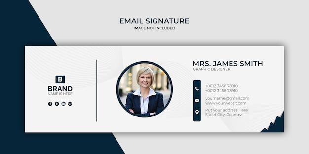 Design de modelo de assinatura de email ou rodapé de email e capa de mídia social pessoal