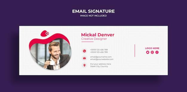 Design de modelo de assinatura de email ou rodapé de email e modelo de capa de mídia social pessoal
