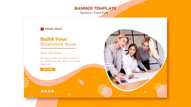 Design de modelo de banner com equipe de negócios
