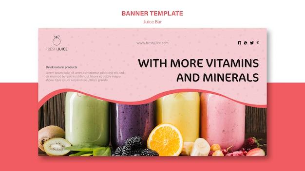 Design de modelo de banner de barra de suco natural