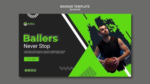 Design de modelo de banner de basquete