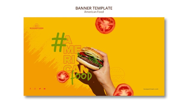 Design de modelo de banner de comida americana
