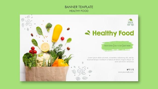 Design de modelo de banner de comida saudável