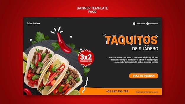 Design de modelo de banner de comida