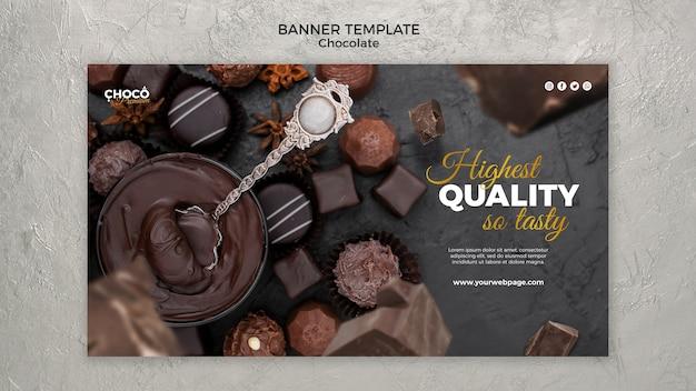 Design de modelo de banner de conceito de chocolate