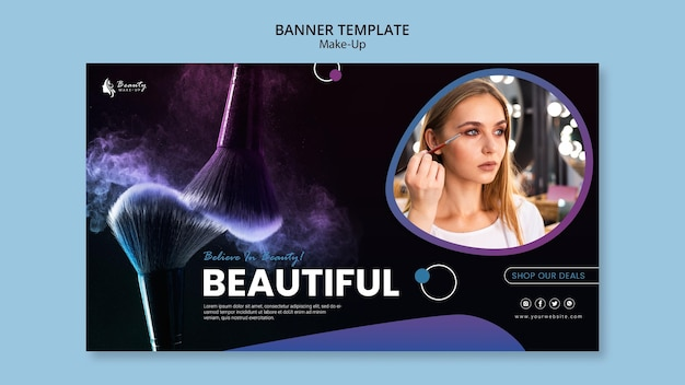 Design de modelo de banner de conceito de maquiagem