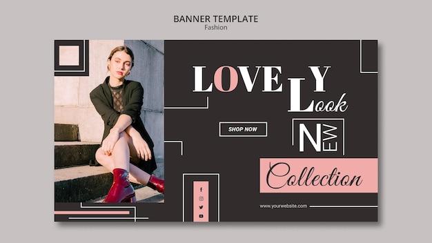 Design de modelo de banner de conceito de moda