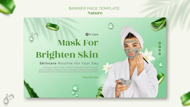 Design de modelo de banner de cosméticos naturais de aloe vera