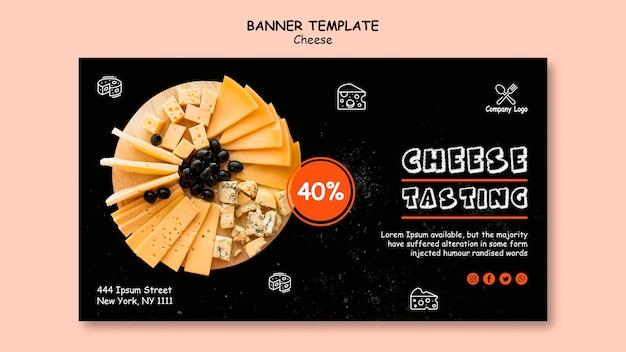 Design de modelo de banner de degustação de queijo