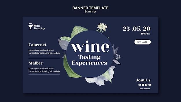 Design de modelo de banner de degustação de vinhos