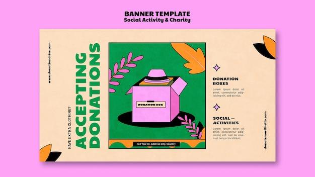 Design de modelo de banner de doação de caridade