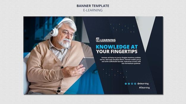 Design de modelo de banner de e-learning
