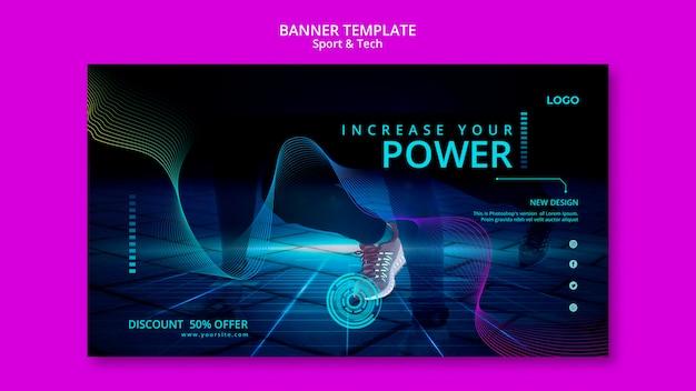 Design de modelo de banner de esporte e tecnologia
