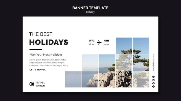 Design de modelo de banner de férias