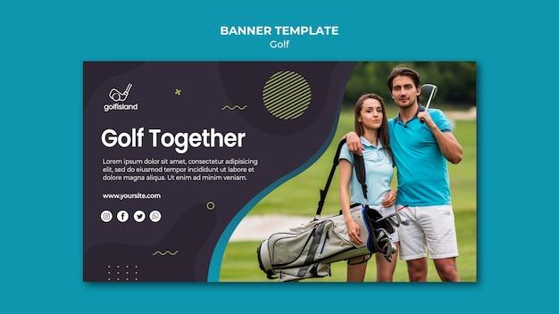 Design de modelo de banner de golfe