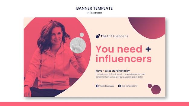 Design de modelo de banner de influenciador
