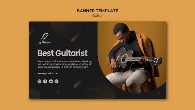 Design de modelo de banner de jogador de guitarra