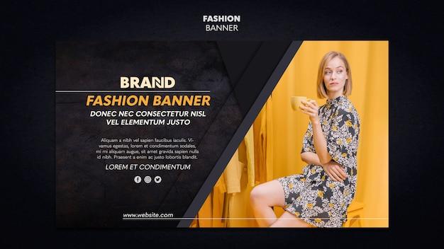 Design de modelo de banner de mulher elegante