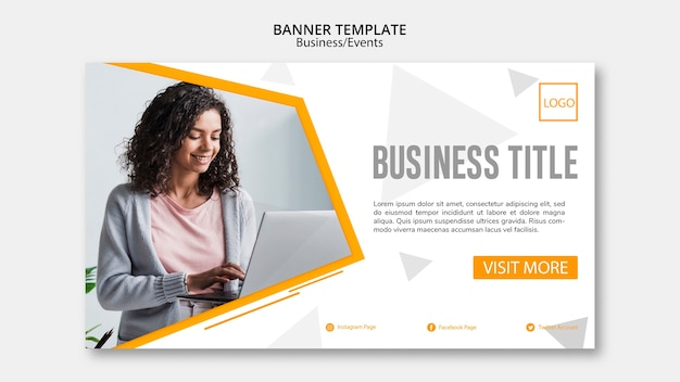 Design de modelo de banner de negócios abstratos