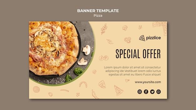 Design de modelo de banner de pizza deliciosa
