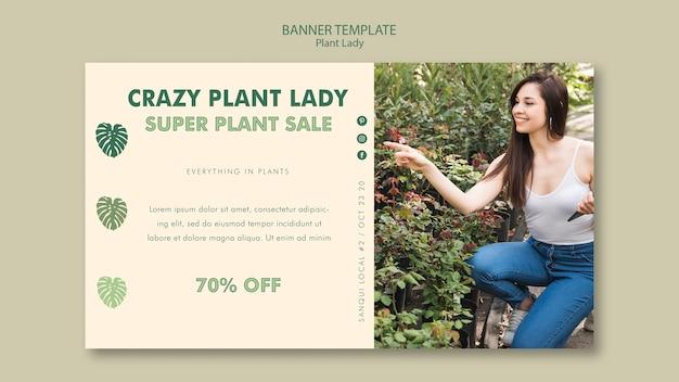 Design de modelo de banner de senhora de planta