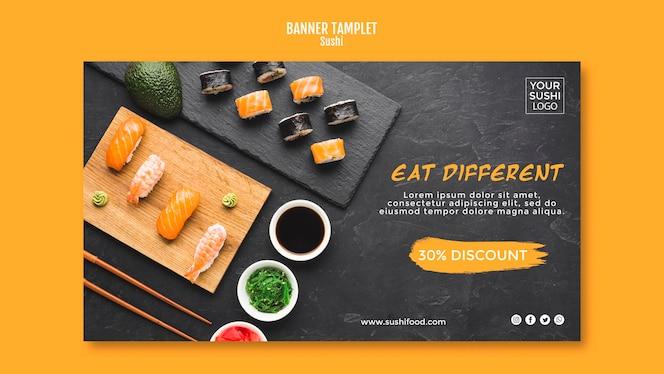 Design de modelo de banner de sushi